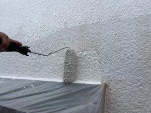 外壁に白いペンキをローラーで塗装